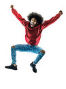 African man jumping happy silhouette isolated Royalty Free Stock Photo