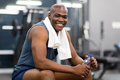 African man resting after workout healthy american Royalty Free Stock Images