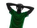 African man soccer player despair loosing silhouette Royalty Free Stock Photo