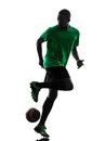African man soccer player silhouette one green jersey in on white background Stock Photo
