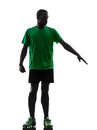 African man soccer player silhouette one green jersey in on white background Royalty Free Stock Photography