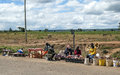 African market in kenya in africa road on a sunny day picture taken in may Stock Images
