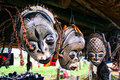 African masks hanging on display Royalty Free Stock Image