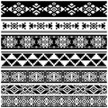 African and mexican aztec american tribal vector borders, frame patterns