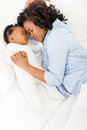 African mother baby sleeping cute american and her Royalty Free Stock Photos