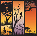 African nature silhouettes three panels of with wild animals in different habitats Royalty Free Stock Photo