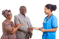 African nurse senior patient friendly hand shake with and wife on white background Stock Photography