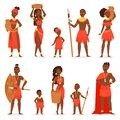 African people vector black man beautiful woman character in traditional tribal clothing dress in Africa illustration