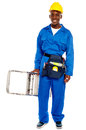 African repairman holding stepladder Royalty Free Stock Photos
