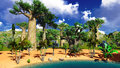 African savannah with lush and vibrant vegetation by the pool Stock Images