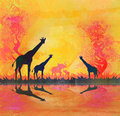 African savannah with reflection raster illustration Royalty Free Stock Images