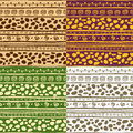 African seamless patterns set of four hand drawn vector illustration can be tiled seamlessly in any directions Royalty Free Stock Photo