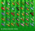 African soccer teams leading team shoes with flags Royalty Free Stock Images