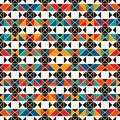 African style seamless surface pattern with abstract figures. Bright ethnic print. Geometric ornamental background