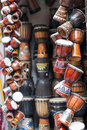 African tambourine musical instruments in front of the store put a lot of drums Royalty Free Stock Photos