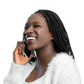 African teen girl with braids talking on phone. Royalty Free Stock Photo