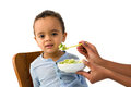 African toddler refusing to eat Royalty Free Stock Photo
