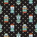African totem mask seamless polka dot dark pattern vector. Royalty Free Stock Photo