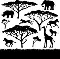 African trees and animals set of silhouettes black Stock Photos