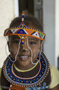 African tribal girl cute in zambia with for this typical painted face and garbs Royalty Free Stock Images