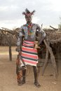 African tribal man of the karo ethnic group with body paint and assault rifle at the karo village in the omo river valley Stock Photos