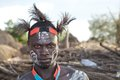 African tribal man of the karo ethnic group with body paint and ornaments at the karo village in the omo river Stock Photos