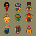 African tribal masks set.