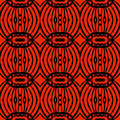 African tribal pattern hand drawn detailed hot ethnic with thick lines and stylized shapes of drums stylized s in contrasting red Stock Photography