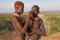 African tribal women of the kato ethnic group with the omo river in the background ethiopia both the show the Stock Photo