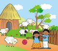 African village children and sheep Royalty Free Stock Image