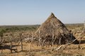 African village hut of the hamer ethnic group near turmi ethiopia with the savanna in the background Stock Photography