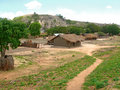 African village near the mountains is in fabulously beautiful landscape africa mozambique Stock Images