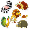 African wild animals set collection of vector cartoon isolated characters Stock Photos