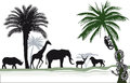 African wildlife set palm trees wild animals Stock Photography