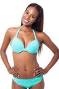 African woman bikini beautiful young wearing blue Royalty Free Stock Images