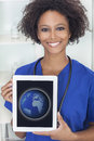 African Woman Doctor Tablet Computer World Royalty Free Stock Photo