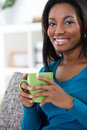 African woman enjoying in coffee young or tea Stock Photo