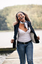 African woman feeling great Stock Photo