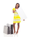 African woman holding billboard beautiful young with shopping bags isolated on white Stock Photo