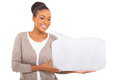African woman holding speech bubble cute against white background Royalty Free Stock Photos