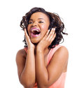 African woman laughing cute american on white background Stock Photo
