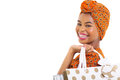 African woman shopping close up portrait of young holding bags isolated on white Stock Images
