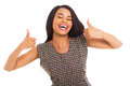 African woman thumbs up portrait of cheerful american giving on white Stock Image