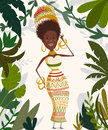 African woman in tropical jungle with palm trees and leaves. Funny cartoon character Royalty Free Stock Photo