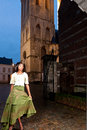 African woman in victorian dress old city the historic of leuven with medieval church and antique houses Royalty Free Stock Image
