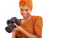 African woman viewing photo beautiful young on camera isolated on white Royalty Free Stock Images
