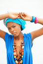 The african women exists in a turban woman Royalty Free Stock Photo