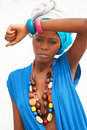 The african women exists in a turban woman Royalty Free Stock Images