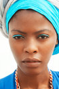 The african women exists in a turban woman Royalty Free Stock Image