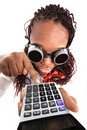 Afro american with calculator Royalty Free Stock Photography